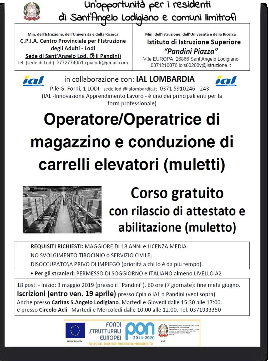 corso per operatore/operatrice di magazzino e conduzione di carrelli elevatori